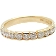 Vintage 14K Yellow Gold 0.50cttw G/SI Round Diamond Half Eternity Wedding Ring