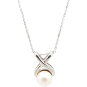 "Solid 10K White Gold 6mm Natural Pearl Infinity Slider Pendant Necklace-18""; CW"