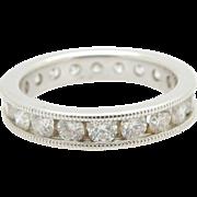 14K White Gold 2.00cttw F-VS2 Round Brilliant Diamond Eternity Wedding Band Sz 7