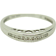 14K White Gold 0.15cttw H-SI Round Natural Diamonds Wedding Band Ring Sz 6.5