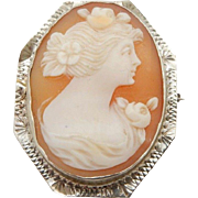 Solid Vintage 14K White Gold Oval Cameo Pin Brooch