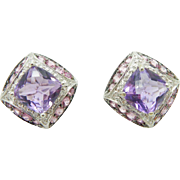 Solid 14K White Gold 8.00cttw Amethyst & Diamond Accents Huggie Stud Earrings