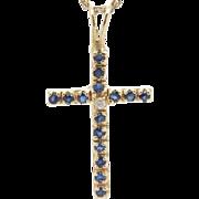 Solid 14K Yellow Gold 0.60cttw Round Sapphire & Diamond Religious Cross Pendant