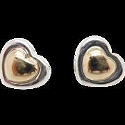 Solid 14K Yellow Gold & Sterling Silver/925 Heart Stud Butterfly Clasp Earrings