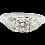 14K White Gold 1.45ctw G-VS Round & Heart Shaped Diamond 3-Stone Engagement Ring