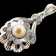 Solid Vintage 14K White Gold 6mm Natural Pearl Filigree Pendant