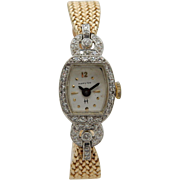 Antique Ladies HAMILTON 0.60cttw F/VS Diamond Platinum & 14K Gold Wrist Watch