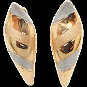 Vintage 18K Tri-Color Huggie Drop Earrings-Leverback; ARR