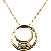 Vintage 14K Yellow Gold 0.35cttw Round Diamond Filigree Pendant Necklace 18""