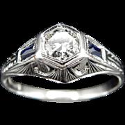 18K White Gold 0.40cttw F/VS Round Diamond & Sapphire Art Deco Cocktail Ring Sz6