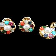 Vintage 22K Yellow Gold Round Multi Color Gemstone Pendant & Stud Earrings Set