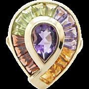 Vintage 14K Yellow Gold Multi Color Topaz Amethyst Gemstones Cocktail Ring Sz 6