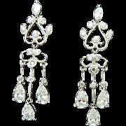 14K White Gold Cubic Zirconia Dangle Chandelier Earrings; Butterfly Fastening