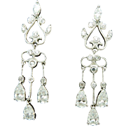 14K White Gold Cubic Zirconia Dangle Chandelier Earrings; Butterfly Fastening