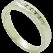 14K White Gold 0.20cttw Round Brilliant Diamond 4mm Wedding Band Ring Sz 6.5
