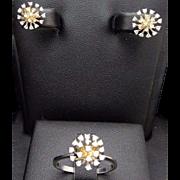 Solid 14K White Gold 0.50cttw G-VS Round Diamond Flower Ring & Stud Earrings Jewelry Set