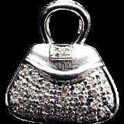 Solid 14K White Gold 0.25cttw Round Diamond Handbag Charm Pendant