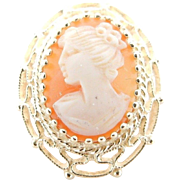 Solid Vintage 14K Yellow Gold Filigree CAMEO Pendant Brooch/Pendant