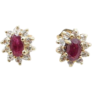 Solid Vintage 10K Yellow Gold 0.75cttw Ruby and Diamond Stud Earrings Butterfly