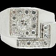Vintage 14K White Gold 1.00cttw F-VS1 Round Old Mine Cut Diamond Mens Ring Sz 6