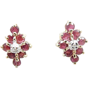 Vintage 14K Yellow Gold 0.50cttw Red Ruby and Diamond Stud Butterfly Earrings