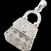 Solid 14K White Gold 0.25cttw F/VS Round Diamond Filigree Handbag Charm Pendant