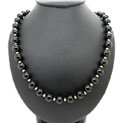 """Solid Vintage 14K Yellow Gold 8mm Black Onyx Ball Gold Spacers Necklace-24"""""""