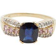 Vintage 14K Yellow Gold Blue Sapphire CZ & Pink Ice Cocktail Ring Sz 10