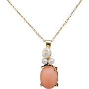 """Solid Vintage 14K Yellow Gold Oval Pink Jade & Freshwater Pearl Pendant Necklace-16"""""""