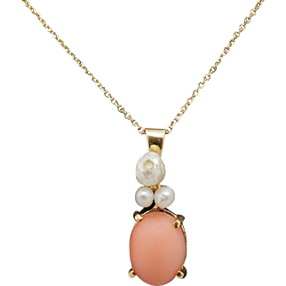 Solid Vintage 14K Yellow Gold Oval Pink Jade and Freshwater Pearl Pendant