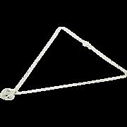 """14K White Gold 0.25ctw H-SI Baguette Cut Diamond Open Heart Pendant Necklace-16"""""""