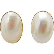 Vintage 14K/585 Yellow Gold Oval Mother of Pearl Abalone Stud Earrings