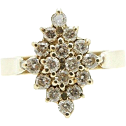 Vintage Solid 14K Yellow Gold 0.75cttw G/SI Round Diamond Cluster Cocktail Ring Sz 7