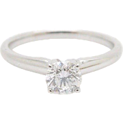 Solid 14K White Gold 0.52 Carat Round Diamond Solitaire Engagement Ring Sz 6.75
