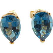 Solid 14K Yellow Gold 1.50cttw Pear Shaped Blue Topaz Stud Earrings