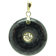 Vintage 14K Yellow Gold Natural Black Jade Round Chinese Dangle Pendant
