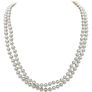 Vintage 14K Yellow Gold 5mm Freshwater Pearl Double Strand Necklace-16""