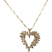 14K Yellow Gold 0.50cttw H-SI Round Diamond Open Heart Pendant Necklace-18""