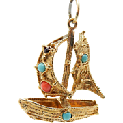 Vintage 14K Yellow Gold Round Turquoise Sailboat Dangle Pendant