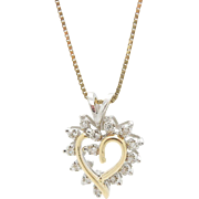 14K Two-Tone Gold 0.25ctw G/VS-SI Round Diamond Open Heart Pendant Necklace-16.5""