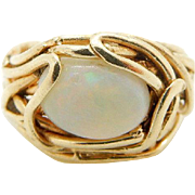 Vintage Solid 14K Yellow Gold Oval Opal Ring Sz 3.5