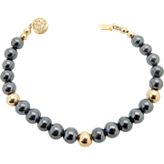 Vintage 14k Yellow Gold Round 6mm Black Onyx Bead with Yellow Gold Spacers Filigree Clasp Bracelet
