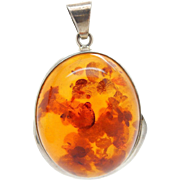 Solid Vintage Sterling Silver/925 Large Round Baltic Amber Dangle Pendant