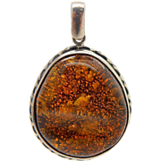 Vintage Sterling Silver/925 Round Green Baltic Amber Dangle Pendant--12.4gr