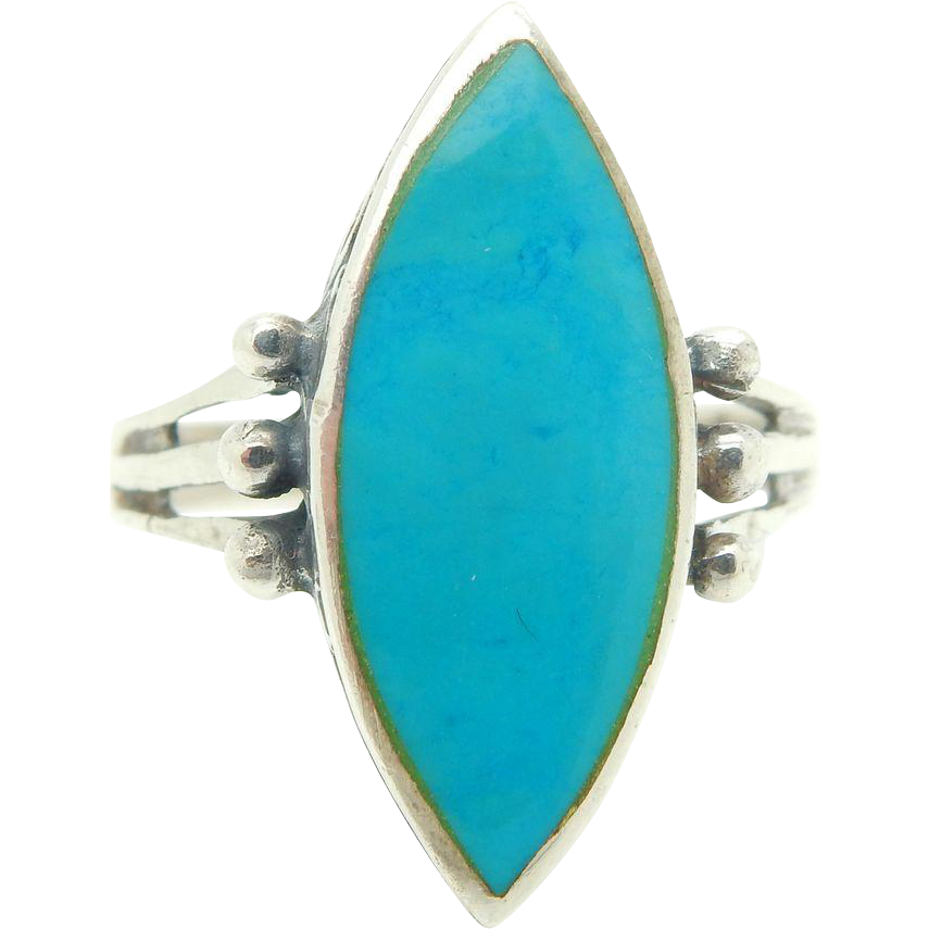 Rubylane Turquoise Silver Rings