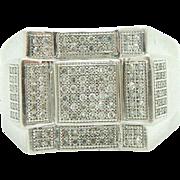 Vintage 10K White Gold 0.35cttw H-SI Round Diamond Mens Ring Sz 10