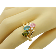 Vintage 14K Yellow Gold 1.40cttw Oval Multi-Color Topaz & Diamond Cocktail Ring