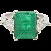 Vintage Platinum 2.65cttw Emerald w/Trillion Diamond Accents Engagement Ring