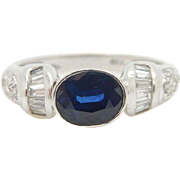 18K White Gold 2.00cttw Oval Sapphire & Diamond Accents Cocktail Band Ring Sz 6
