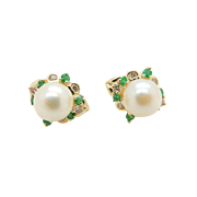 Vintage 14K Yellow Gold 7mm Pearl with 0.35cttw in Natural Diamonds and Natural Green Emerald Stud Earrings